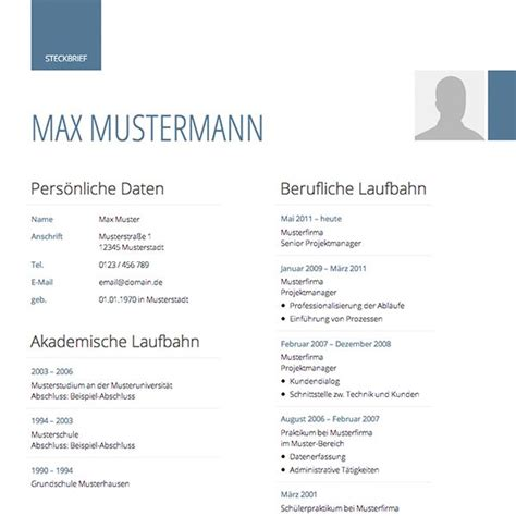 Lebenslauf Und Bewerbung Vorlage by Lebenslauf Muster Vorlagen F 252 R Die Bewerbung 2018