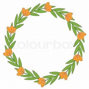 Orange flowers decorative frame | Vector | Colourbox