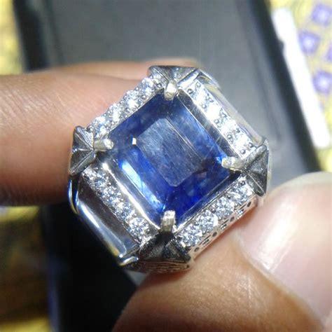 jual cincin pria blue safir tanzania 0103 ring perak 925