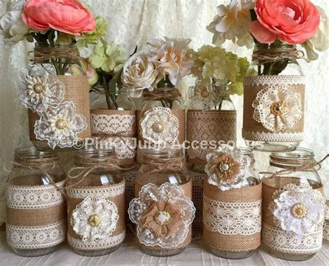 Mason Jar Baby Shower Decorations by 10x Natural Color Lace And Burlap Covered Mason Jar Vases