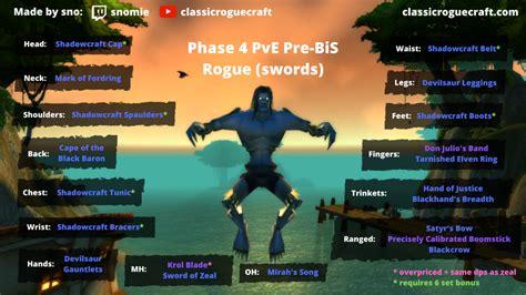 bis gear pve rogue sword pre slot classic raid dagger phase guide wow daggers p4