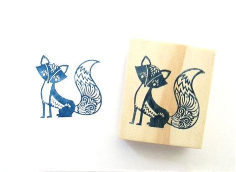 fancy fox rubber stamp  wood backing love  love