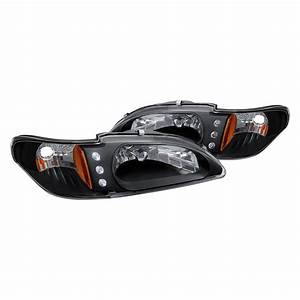 Lumen® - Ford Mustang 1998 Black Euro Headlights with Parking LEDs