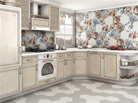cuisine taupe et bois carrelage hexagonal tendance idées de couleurs et designs