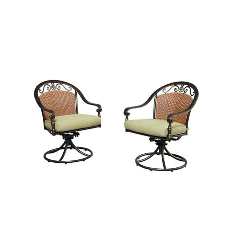 hton bay edington woven back patio swivel dining chair