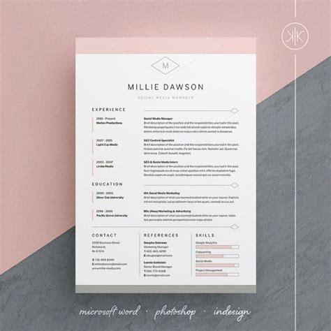 millie resume cv template word photoshop indesign