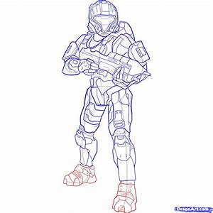 How to Draw a Halo Spartan, Step by Step, Video Game ...