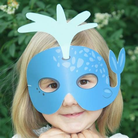 blue whale printable kids mask sea life mask whale etsy