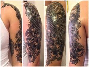 By Tash at Ultimate Skin; Leeds, UK. Peacock, black & gray ...
