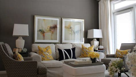 Grey and yellow living room ideas with white curtain and
