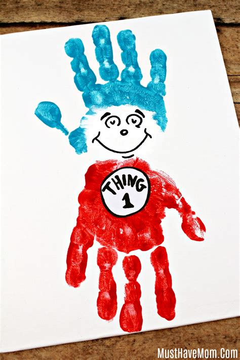 dr seuss crafts thing 1 and thing 2 handprint painting 123 | preschool dr seuss craft