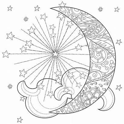 Moon Celestial Sun Coloring Pages Mandala Adults