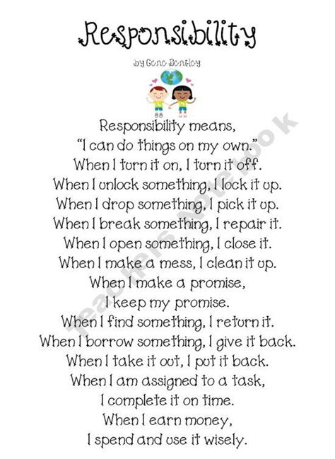 responsibility poem  writing activity  response