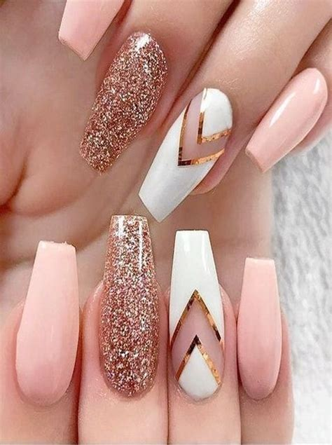 Pink And White Nails With Fancy Styles | Gold glitter