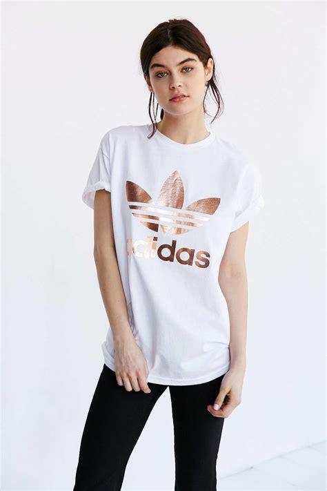 Lyst - Adidas originals Originals Metallic Logo T-Shirt in White