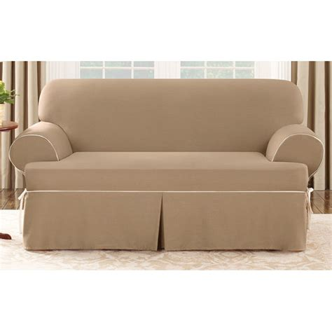 Slipcover Loveseat T Cushion by Sure Fit Cotton Duck Loveseat T Cushion Slipcover