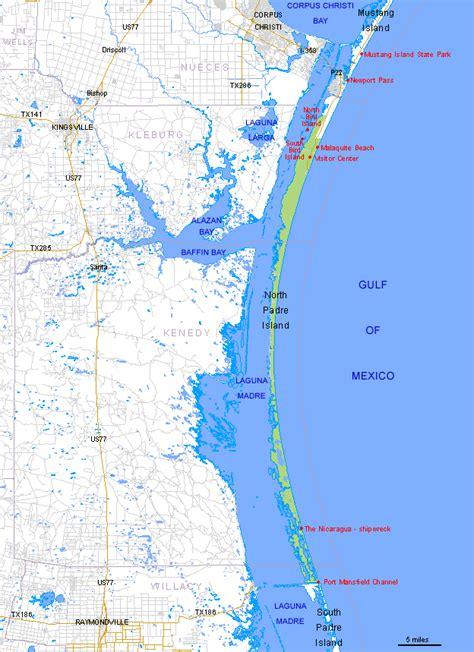 Map of Padre Island National Seashore, Texas