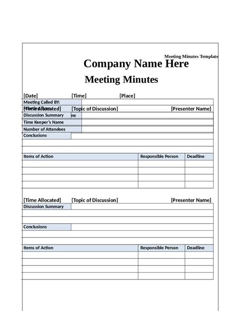 meeting minutes template free 2018 meeting minutes template fillable printable pdf forms handypdf