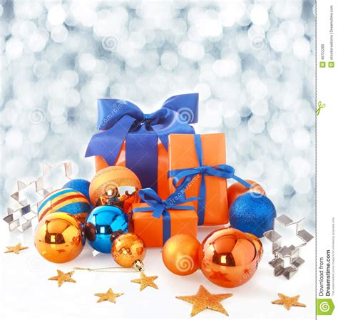 orange  blue christmas background stock photo image