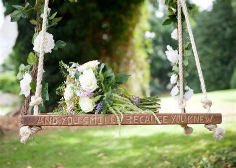 Solid Oak Swing Hand Carved With Quote Or Personal Message