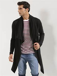 Buy KOOVS Waterfall Cardigan For Men - Menu0026#39;s Black Cardigan Online in India
