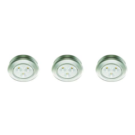 commercial electric led puck light commercial electric 2 99 in led silver battery operated