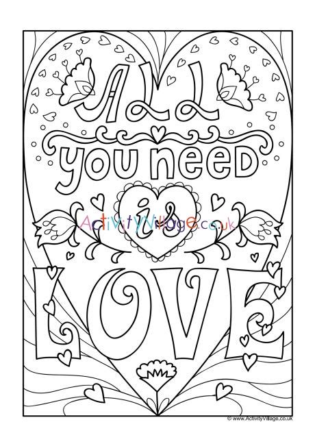 love colouring page