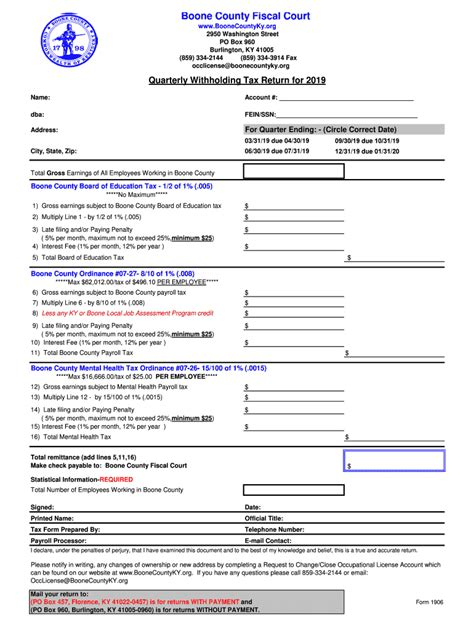 Ky 1906 Boone County 2019 Fill Out Tax Template Online Us Legal Forms