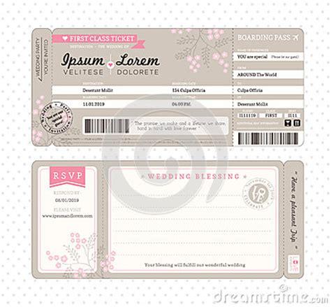 boarding pass wedding invitation template royalty