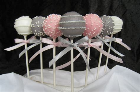 cake pops pink  gray baby shower cake pops   high