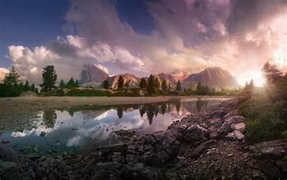 Sunset Nature Italy Europe Lake Mountain Reflection