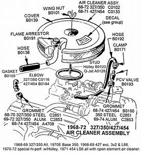1968-72 327  350  427  454 Air Cleaner Assembly - Diagram View
