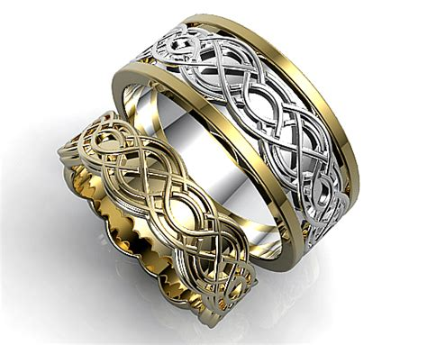 unique celtic matching wedding ring set vidar jewelry