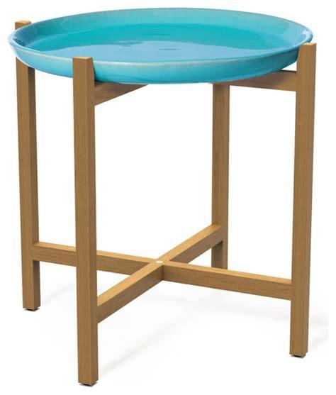 ibis teak accent table aquamarine modern outdoor side
