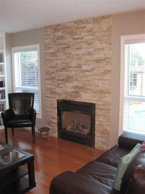 Neutral Stacked Stone Fireplace