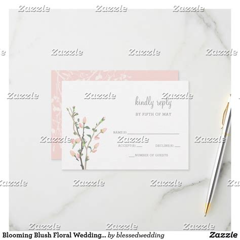 Blooming Blush Floral Wedding rsvp Zazzle com