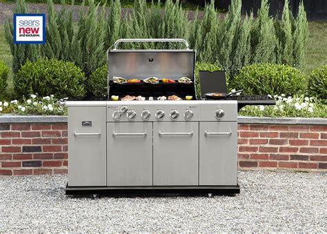 stainless front gas grill barbecue smoke and more with sears