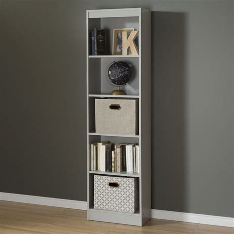south shore axess  shelf narrow bookcase  soft gray