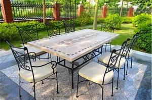Table Fer Forgé Jardin : salon de jardin en fer forge et mosaique digpres ~ Teatrodelosmanantiales.com Idées de Décoration