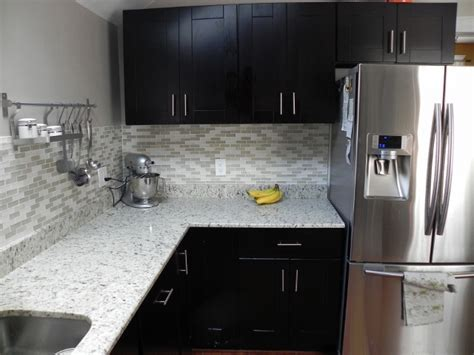 Tile backsplash with Mocha Shaker cabinets   RTA Kitchen