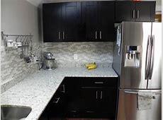 Tile backsplash with Mocha Shaker cabinets RTA Kitchen