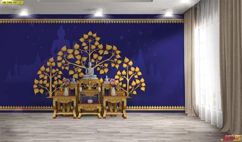 วอลเปเปอร์ ลายไทยต้นโพธิ์ พื้นหลังสีน้ำเงิน