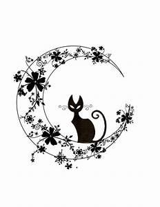 Lune Dessin Tatouage : dessin tatouage chat noir lune et fleurs chats pinterest dessin de tatouages photo de ~ Melissatoandfro.com Idées de Décoration