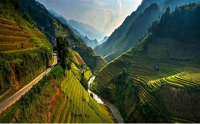 Vietnam Rice Spring Paddy Mountain Nature Road