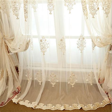 luxury european embroidered lace sheer tulle curtains