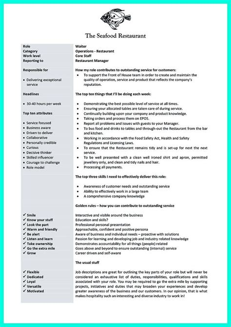 Waitress Resume Skills Sle by Best Description Of Server For Resume 28 Images