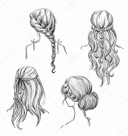 Hairstyles Different Hand Illustration Drawn Vector Kamenuka