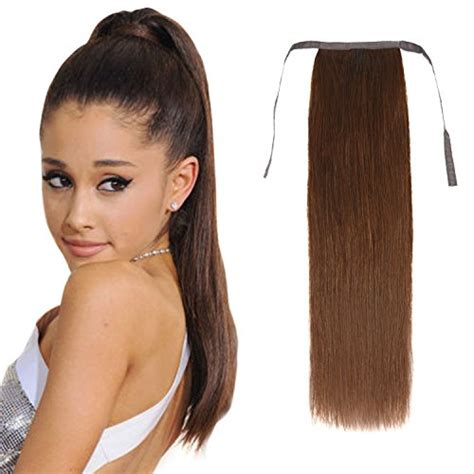 ponytail hair human extensions extension straight long clip wrap around hairpiece thick remy 100g shedding ends