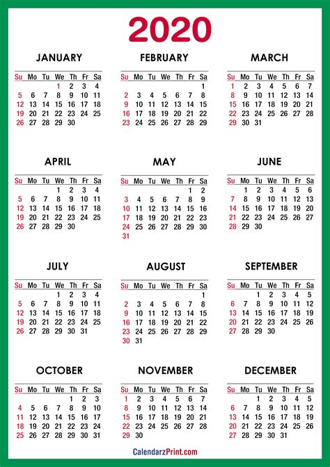 printable  calendar hd green ss