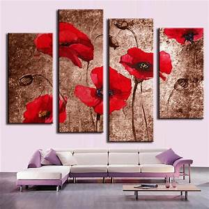 4 pcs set modern flower wall picture abstract red flower With best brand of paint for kitchen cabinets with canvas wall art brown